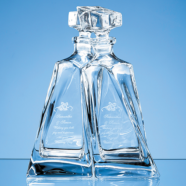 1pr of 0.5ltr Crystalite Lovers Decanters