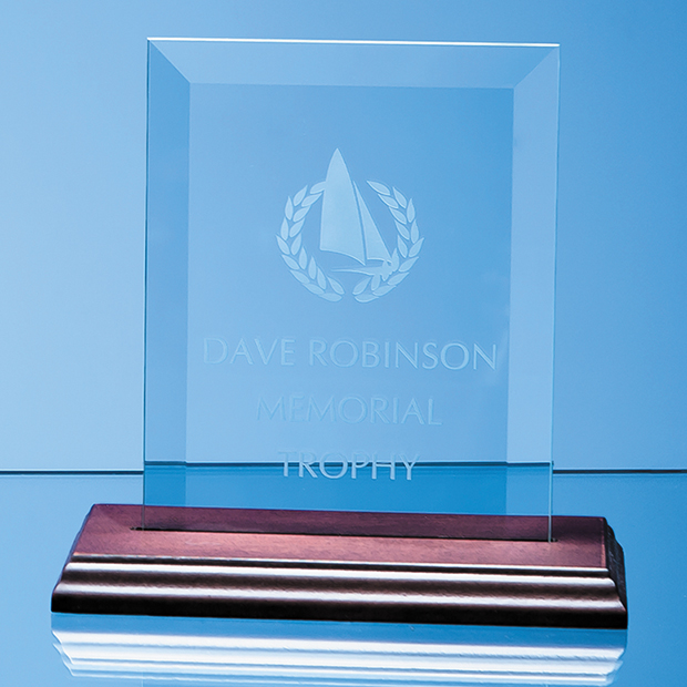 15cm x 10cm Bevelled Glass Rectangle on Wood Base