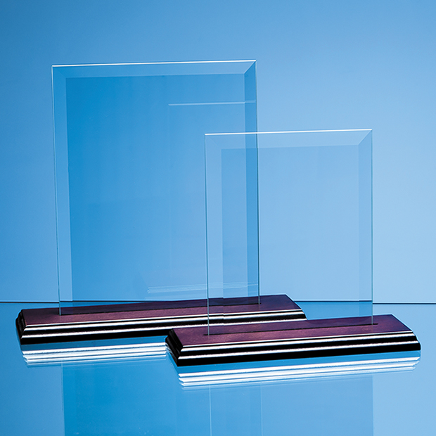 18cm x 12.5cm Bevelled Glass Rectangle on Wood Base