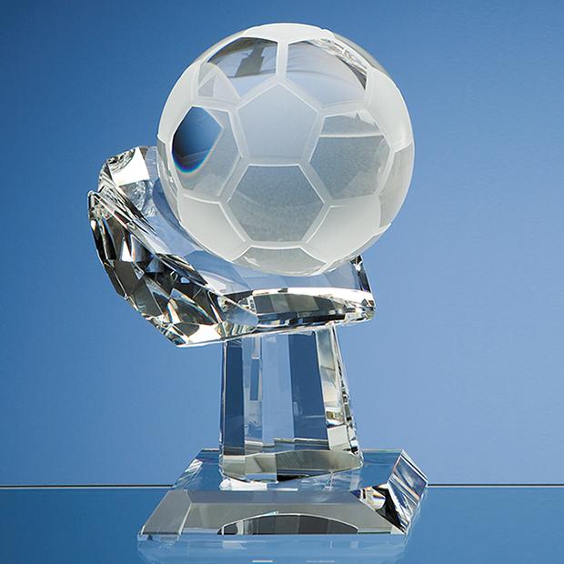 10cm Optical Crystal Football on Mounted Hand Award