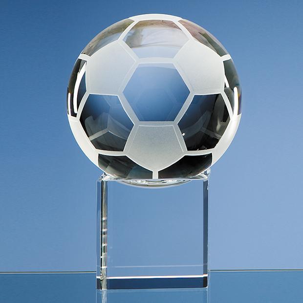 10cm Optical Crystal Football on Clear Base