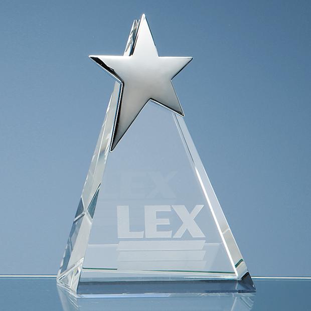 15cm Optical Crystal Triangle Award with Silver Star