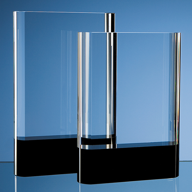 18cm Optical Crystal Rectangle with Onyx Black Base