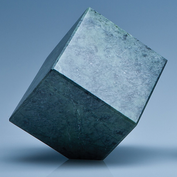 7cm Green Marble Bevel Edged Cube*