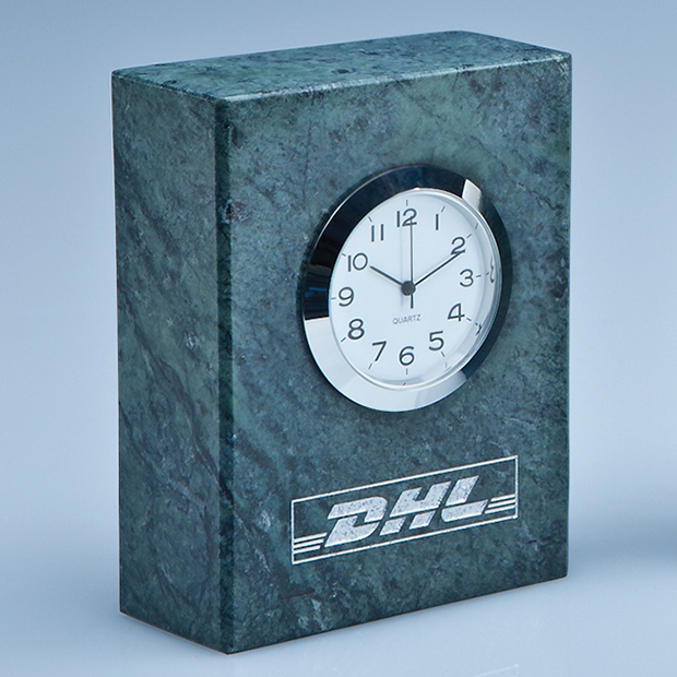 8cm Green Marble Bevel Edged Rectangle Clock*