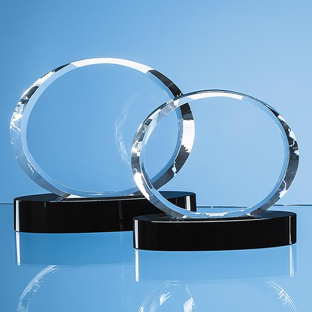 17cm Optical Crystal Oval Award mounted on an Onyx Black Base