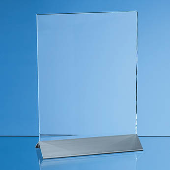 15cm x 10cm x 6mm Clear Glass Rectangle on an Aluminium Base