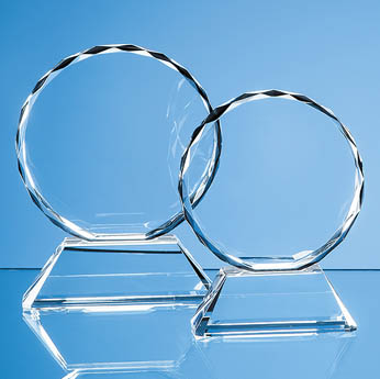 13cm Optical Crystal Mounted Facet Circle Award
