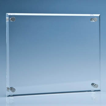 25.5cm x 30.5cm Clear Glass Wall Display Plaque inc Fixing Kit
