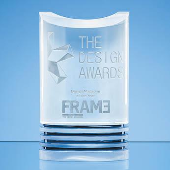 21cm Nik Meller Design Clear Optical Crystal & Cobalt Blue Oval Michel Award*