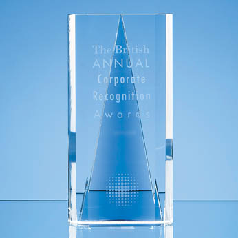 20.5cm Nik Meller Design Clear Optical Crystal & Cobalt Blue Savanna Award