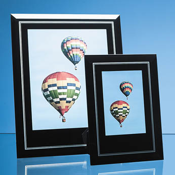 Black Surround with Silver Inlay Glass Frame for 8