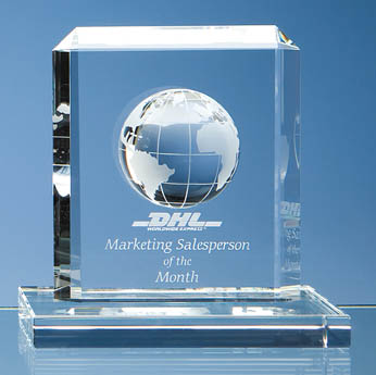 15cm Optical Crystal Globe Rectangle Award