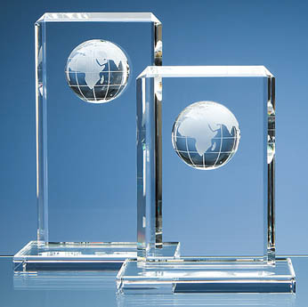 24cm Optical Crystal Globe Rectangle Award