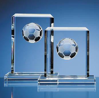 19cm Optical Crystal Football Rectangle Award