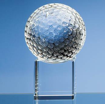 10cm Optical Crystal Golf Ball on Clear Base