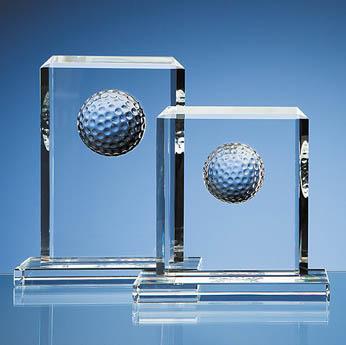 15cm Optical Crystal Golf Ball Rectangle Award
