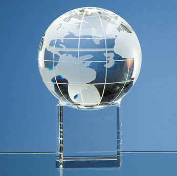 10cm Optical Crystal Globe on Clear Base