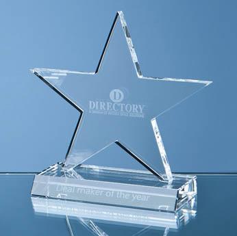 11cm Optical Crystal 5 Pointed Star on Base Award