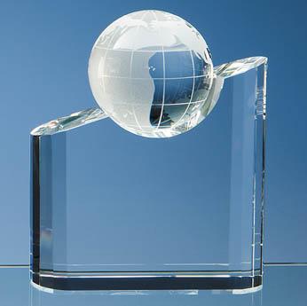 18cm Optical Crystal Globe Mountain Award