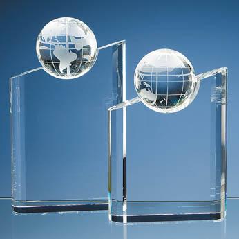 21.5cm Optical Crystal Globe Mountain Award