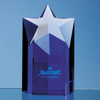 15cm Sapphire Blue Optic Star Column Award