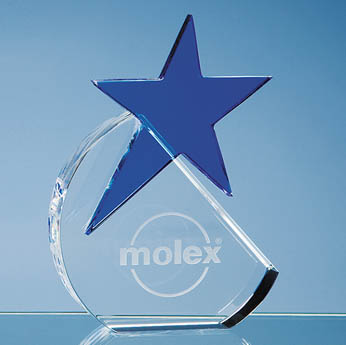 15cm Optical Crystal Circle with Blue Star Award