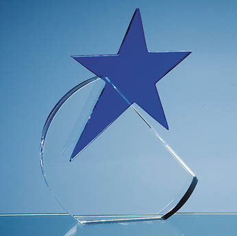 17.5cm Optical Crystal Circle with Blue Star Award