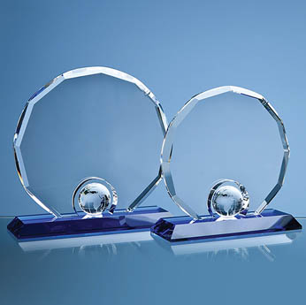 17.5cm Optical Crystal Decagon with Globe on Blue Base