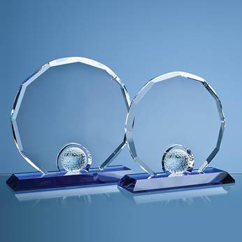 17.5cm Optical Crystal Decagon with Golf Ball on Blue Base