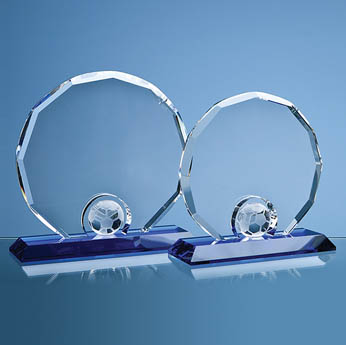 20cm Optical Crystal Decagon with Football on Blue Base
