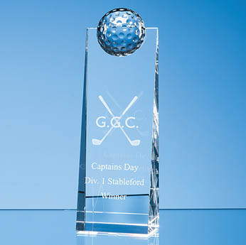 21cm Optical Crystal Golf Ball Rectangle Award