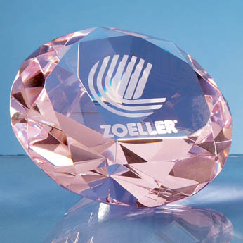 10cm Optical Crystal Pink Diamond Paperweight