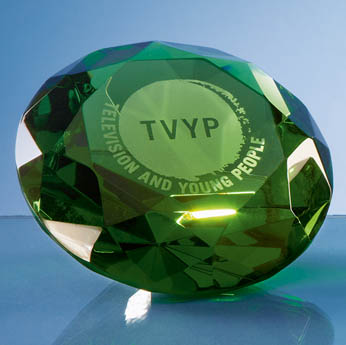10cm Optical Crystal Green Diamond Paperweight