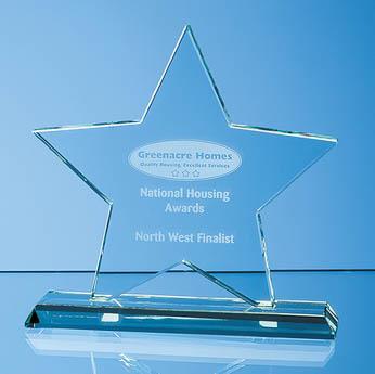 10.5cm x 12mm Jade Glass Star Award