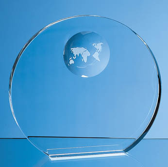 19cm Optical Crystal Circle with Recessed Globe