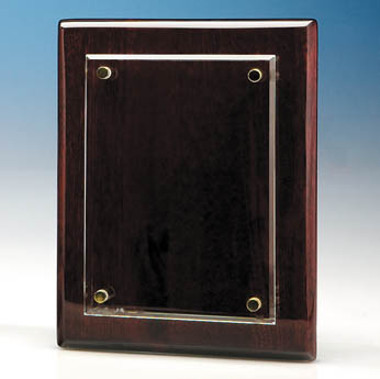 18cm x 12.5cm Clear Rectangle mounted on a Rosewood Plaque