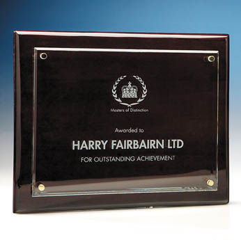 21.5cm x 28cm Clear Rectangle mounted on a Rosewood Plaque