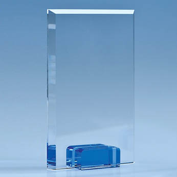 18.5cm Optical Crystal Rectangle with Sapphire Blue Base