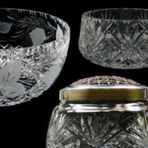 Crystal Bowls, Crystal Rose and Plinth Bowls